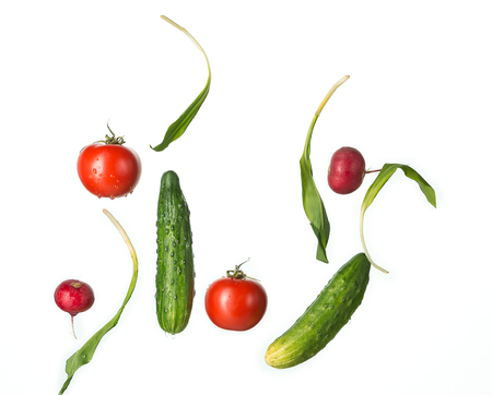 vitamine: The fresh tomatos, cucumbers, radish in spray of water.