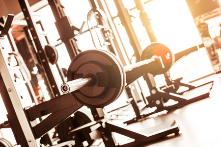 simulators: Abstract blur fitness gym background Stock Photo
