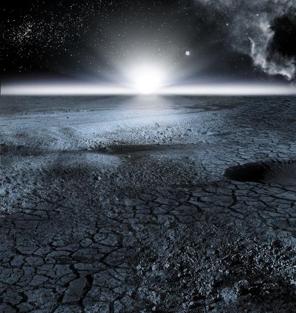 月の風景や月面の風景のビュー