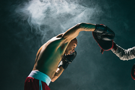 Afro american male boxer. Imagens