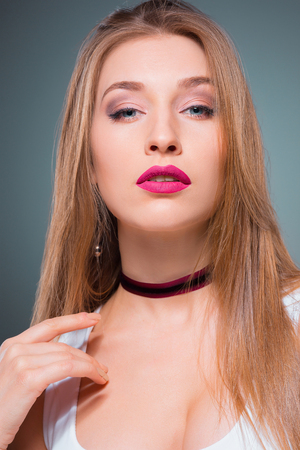 The young womans portrait with Seductive emotions Stock Photo