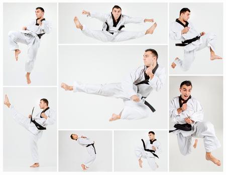 The karate man with black belt training karate Stock Photo