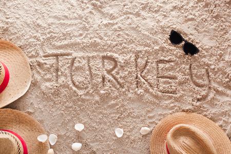 The word Turkey written in a sandy tropical beach
