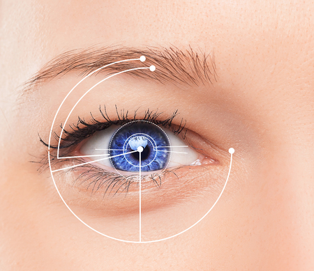 The conceptual image of digital eye of a young woman