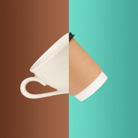 Il collage di immagini di tazze di caffè