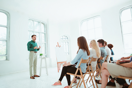 Speaker at Business Meeting in the conference hall. Stock Photo - 80641655