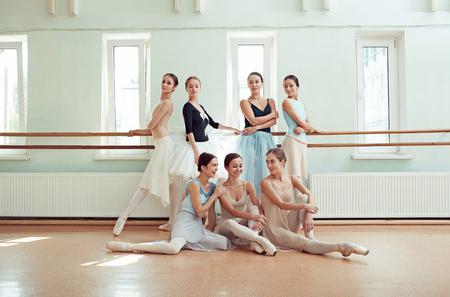 rehearsal: The seven ballerinas at ballet bar