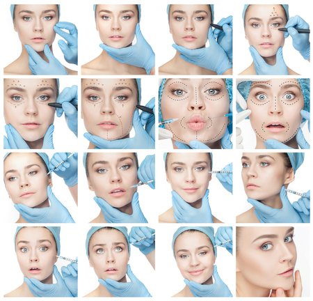 Attractive woman at plastic surgery with syringe in her face Foto de archivo