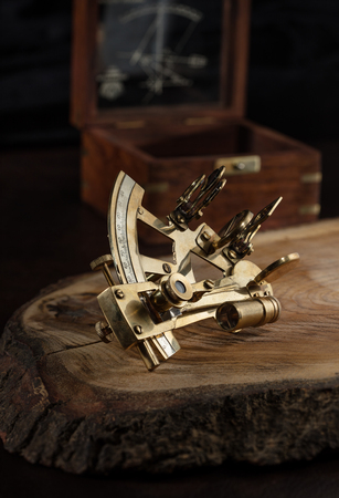 vintage still life with sextant Stock Photo