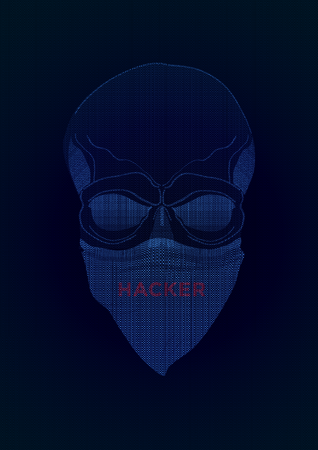 The secret agent, hacker. Mysterious man with the mask on dark background. Secret agent. Incognito. undercover.
