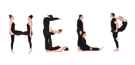 The word HELP formed by Gymnast bodies