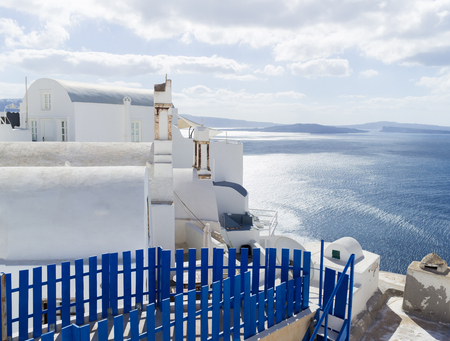 Landscape with sea of Santorini Island, Fira, Greece Stock Photo
