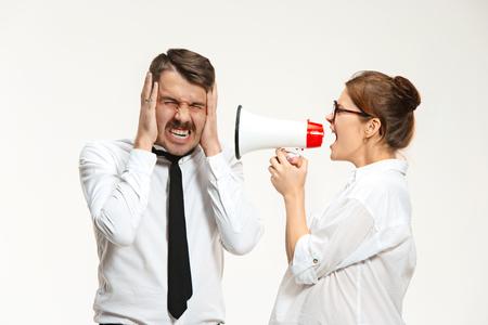 yell: Listening, Megaphone, Shouting. Stock Photo