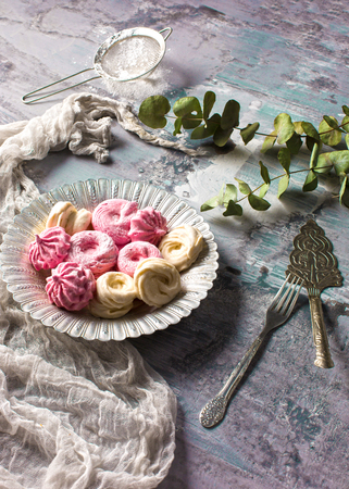 The cookies on wooden table background