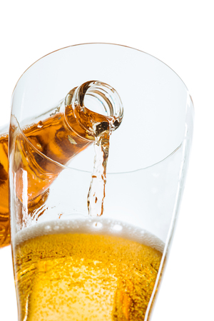 Glass of beer and bottle Stock Photo