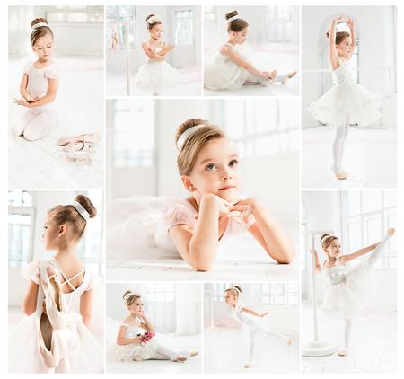 バレエ学校でクラスで白いチュチュで少し balerina 写真素材