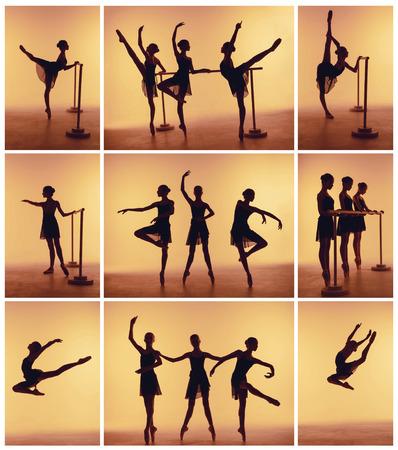오렌지 배경에 발레 포즈에서 세 젊은 댄서의 실루엣에서 컴포지션.