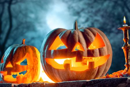 Halloween pumpkins on blue background Stock Photo