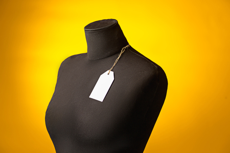 The empty dummy, sale price tag hanging from the button hole. Zdjęcie Seryjne