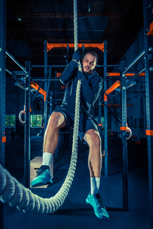 Crossfit athlete with a rope Banco de Imagens