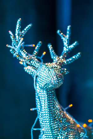 Christmas and New Year decorations with silver deer.