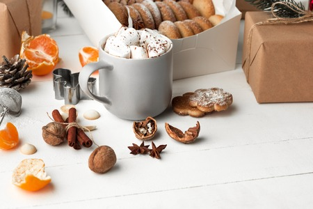 Homemade bakery making, gingerbread cookies in form of Christmas tree close-up. Stock Photo