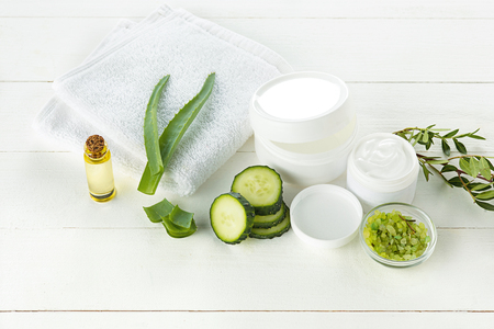 Cucumber and aloe cosmetic cream face, skin and body care hygiene moisture lotion Imagens