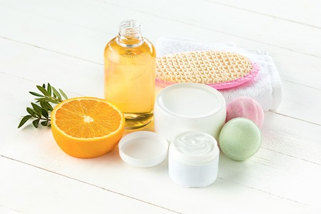 Spa towels, stone and oils Stock Photo