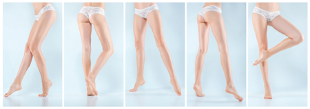 The collage from images of perfect female legs in underwear