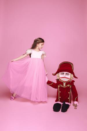 The beauty ballerina with nutcracker Stock Photo