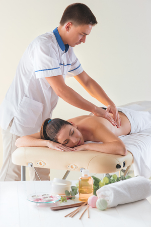 The picture of beautiful woman in massage salon Stock Photo
