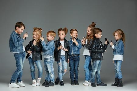 Group of Children Studio Concept Archivio Fotografico