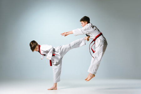 Studio shot of two of kids training karate martial arts Archivio Fotografico