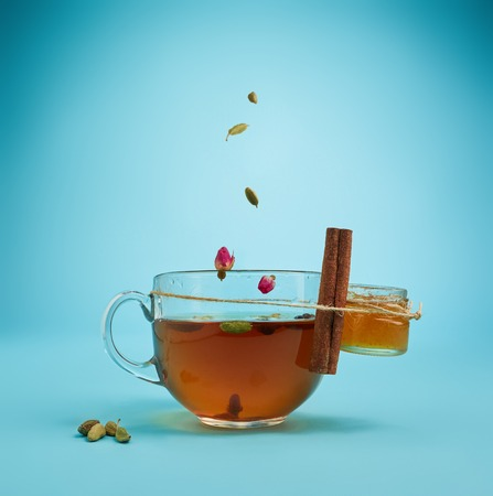 The herbal tea on a blue background Stock Photo