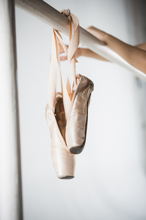 Close up view of pointes for ballet on barre