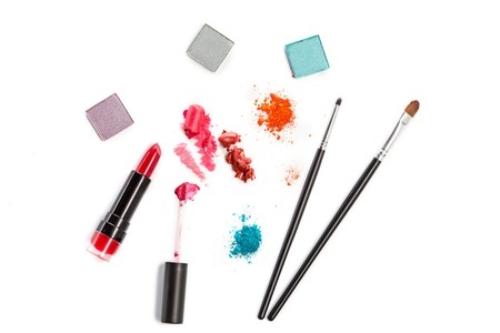 Cosmetics on a white background.