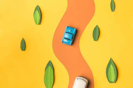 Vintage miniature car and bus in trendy color, travel concept 写真素材
