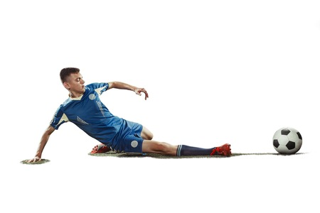 one caucasian soccer player man isolated on white background Stock Photo