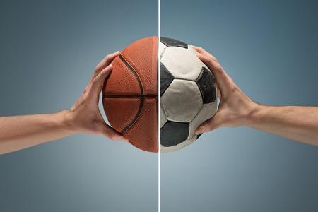 Hands holding soccer ball