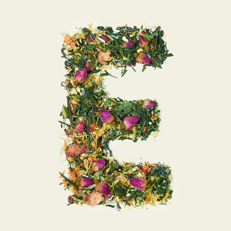 Tea leaf with flowers and fruits, letter E on white background, top view