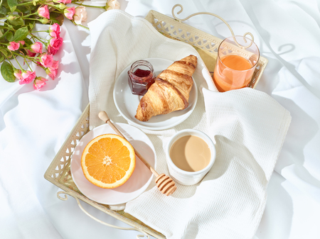 The Love lconcept on table with breakfast