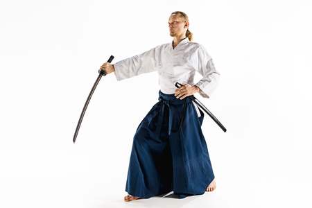 The young man are training Aikido at studio