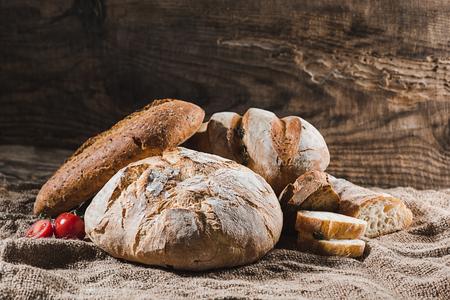 Fresh bread on table close-up Archivio Fotografico