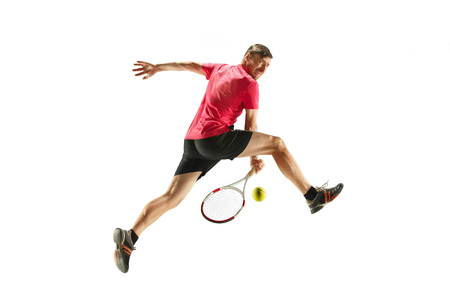 one caucasian man playing tennis player isolated on white background Stock Photo