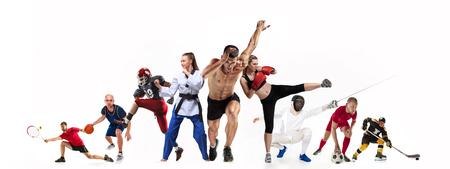 Collage deportivo sobre boxeo, fútbol, fútbol americano, baloncesto, hockey sobre hielo, esgrima, jogging, taekwondo, tenis.