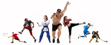 Sport collage about boxing, soccer, american football, ice hockey, jogging, taekwondo, tennis 免版税图像