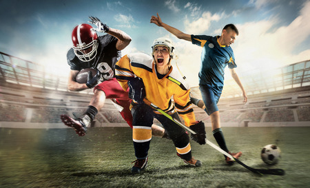 Multi sports collage about ice hockey, soccer and American football screaming players at stadium Banque d'images - 95799593