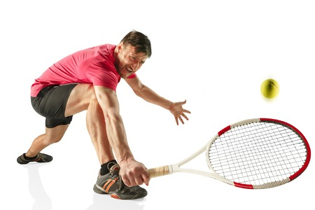 one caucasian man playing tennis player isolated on white background Stok Fotoğraf