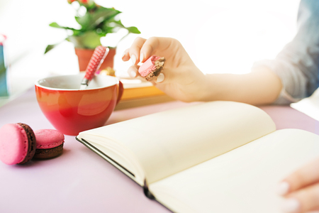 The female hands holding french macarons on trendy pink desk. Stock Photo