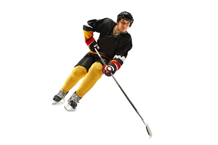 Ice hockey player in action isolated on white. Stock Photo